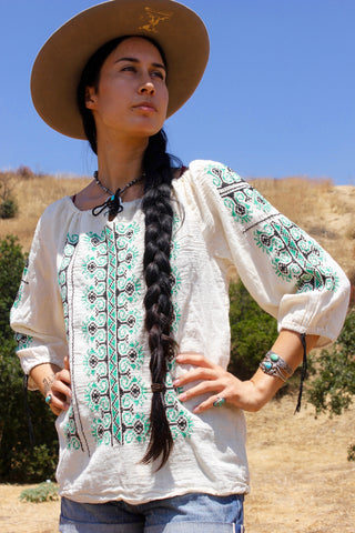 1970s Natural Gauzy Cotton Hand Embroidered Folk Peasant Blouse