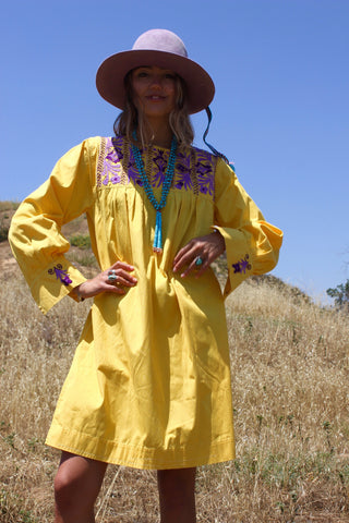 Lemon Yellow Mexican Hand Embroidered Tunic Dress