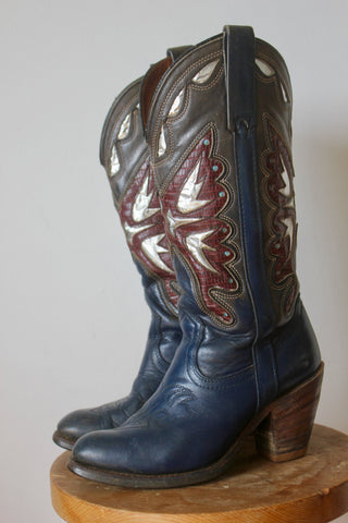 1970s Vintage Miss Capazio Butterfly Inlay Cowgirl Boots 6.5M
