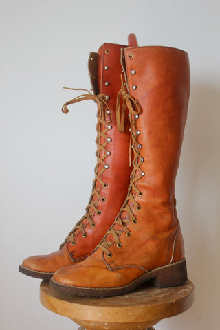1970s Tall Knee High Lace_Up Campus Boots Leather Boots with Gum Soles 8.5