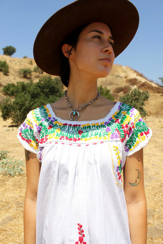 Vintage Summer Oaxacan Dress Hand Embroidered
