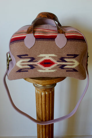 "Honeywood Original ""Gypsy Overnighter"" Bag Antique Chimayo Textile and Deerskin Carpet Bag"