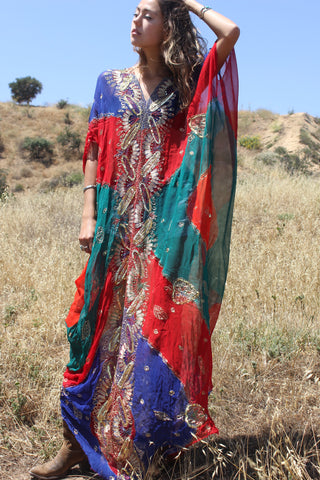"""Dubai Nights"" One-of-a-Kind Hand Dyed Silk Kaftan"