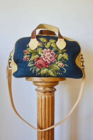 Reserved Honeywood Original Overnighter Bag with Antique Needlepoint and Natural Elk