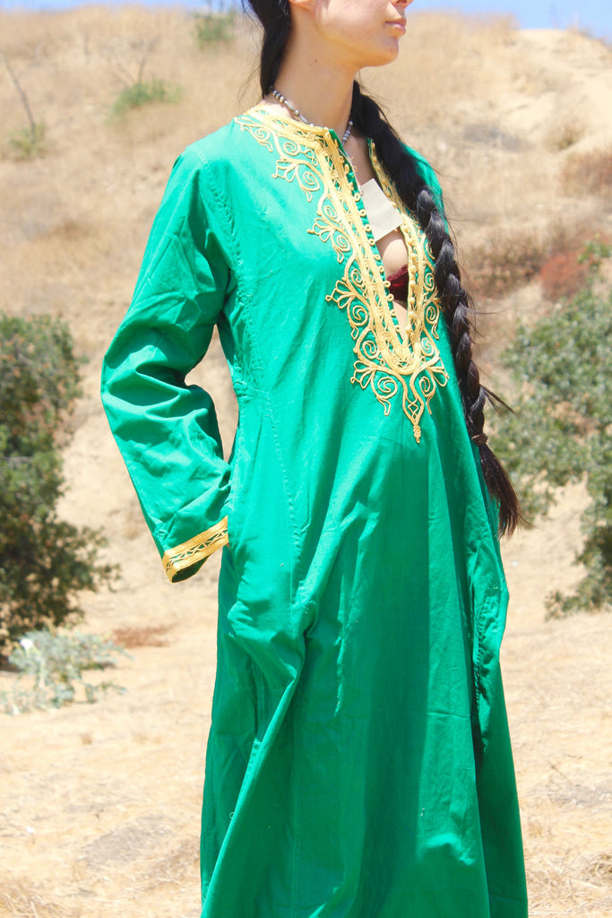 Emerald Green Dead Stock 1970s Hand Embroidered Kaftan