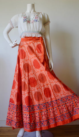 1970s Sun-kissed Orange Cotton Block Print Wrap skirt