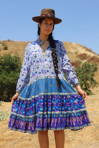 Deadstock Beautiful Bohemian Vintage Indian Gauzy Dress circa 1970s