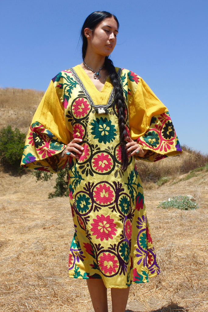 Uzbek Dress Hand Embroidered Antique Tribal Tunic