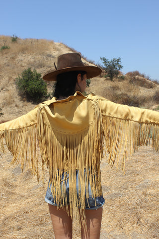 """Cowgirl In the Sand"" Artisan Made 1970s Deerskin Fringe Jacket"