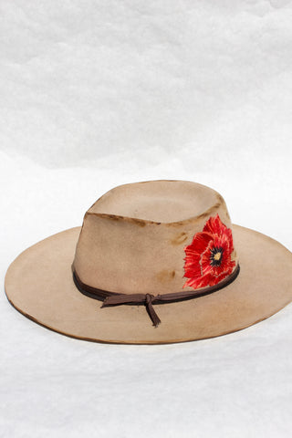 """Red Chief Poppy"" Hand Embroidered Honeywood/Lone Hawk Collaboration"