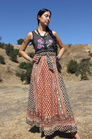 1970s Block Print Wrap Skirt