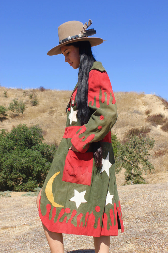 """Holy Roller/Cosmic Mountain"" 1970s Artisan Handmade Suede Coat"