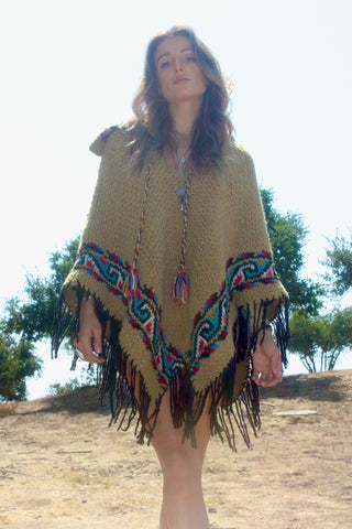 Vintage Hand Loom Woven Southwestern Poncho
