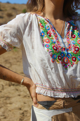 The Ultimate 1930s Hand Embroidered Hungarian Folk Blouse