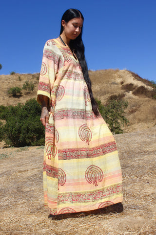 The Honeywood Kaftan One-of-a-Kind Vintage Indian Block Print