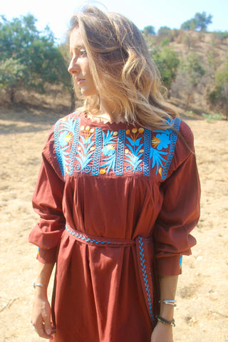 """Chocolate & Turquoise"" Vintage Hand Embroidered Artisan Made Mexican Dress"