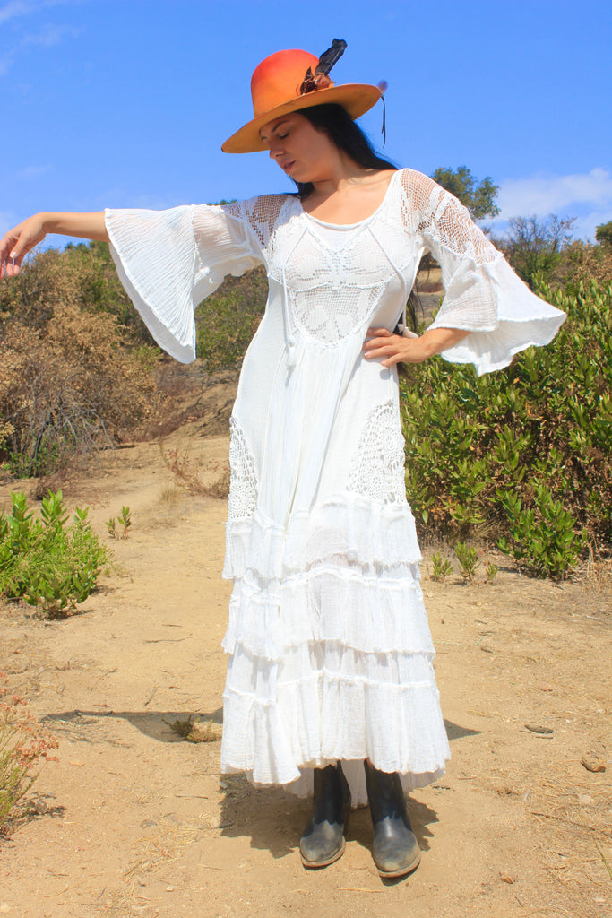 A Honeywood Exclusive Handmade Antique Crochet and Cotton Gauze Maxi Dress S/M