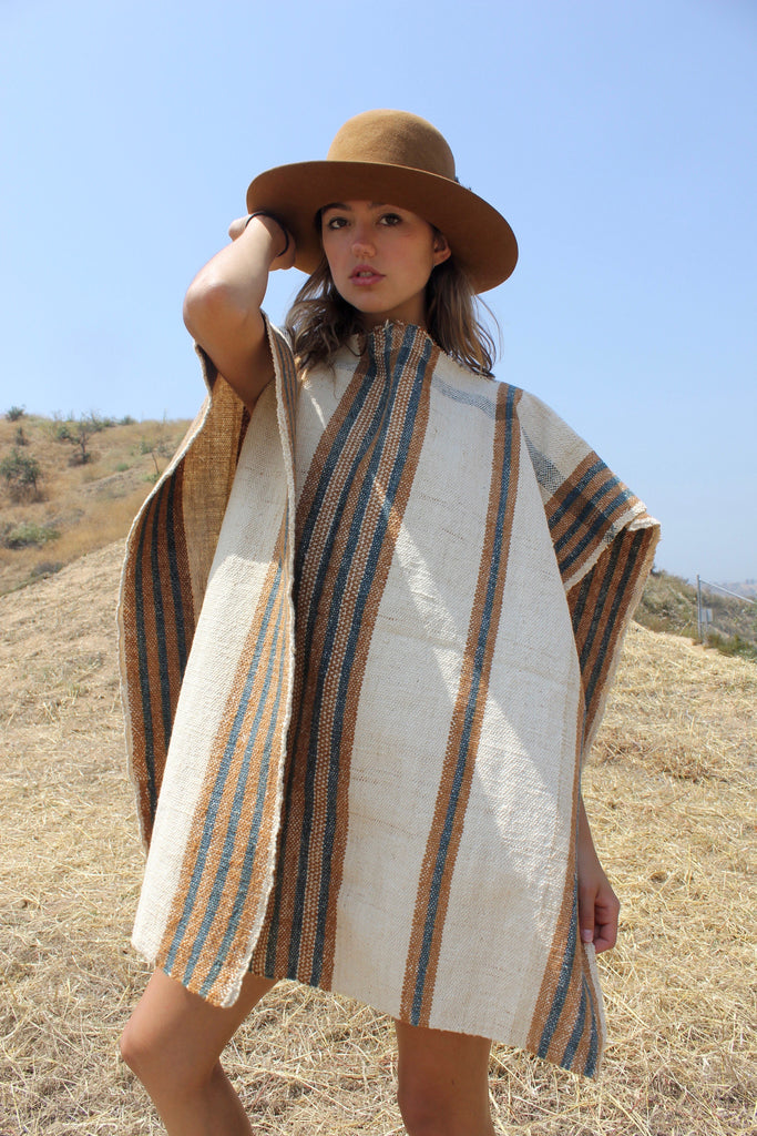 """Del Rio"" Vintage Native Handwoven Cotton Poncho"