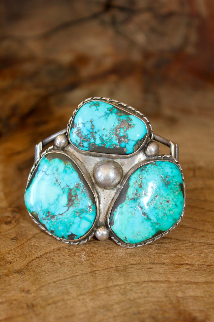 """Navajo Trilogy""  1930s HUGE Vintage Handmade Turquoise Cuff"