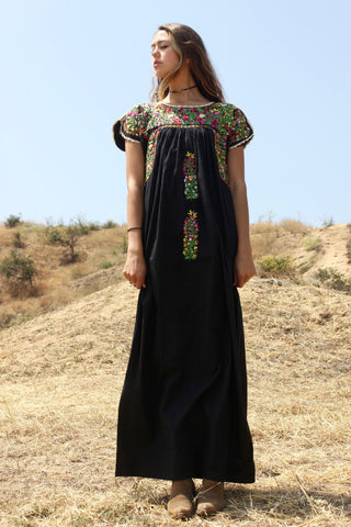 """Black Beauty"" Gorgeous Antique Oaxacan Maxi Dress"