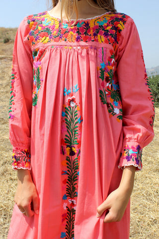 "Gorgeous Rare ""Melon"" Oaxacan Long Sleeve Dress"