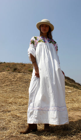 """Bohemian Summer"" Dreamy Hand Embroidered Cotton Maxi"
