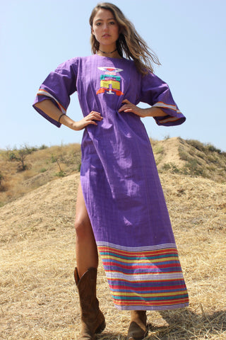 Handwoven Vintage Mexican Maxi Dress