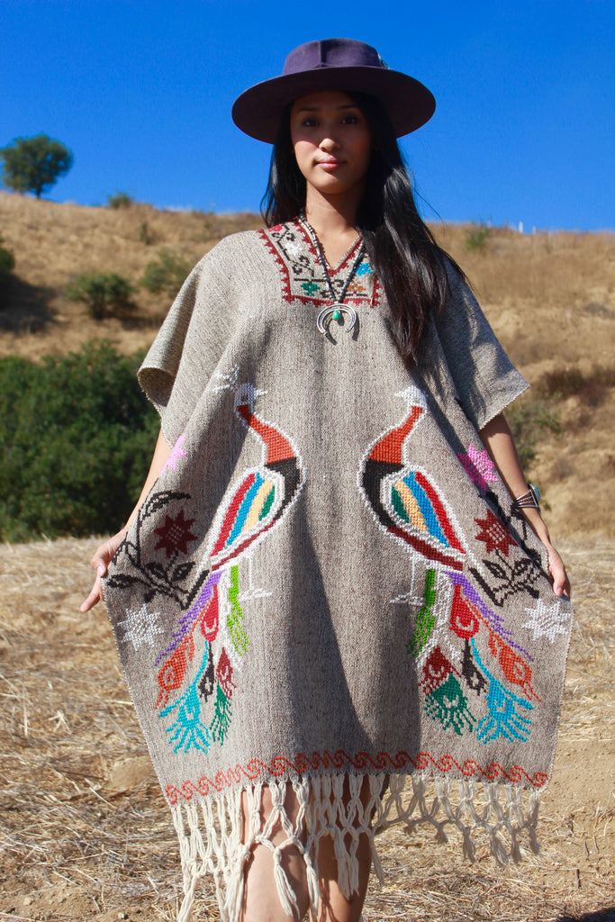 """Birds of Paradise"" 1970s Handwoven One of a Kind Mexican Poncho"