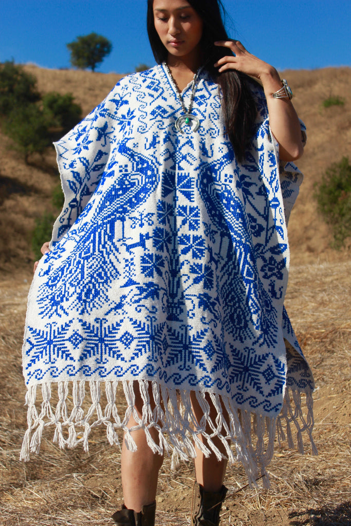 """Poncho Azul"" Handmade Mexican Embroidered Poncho"