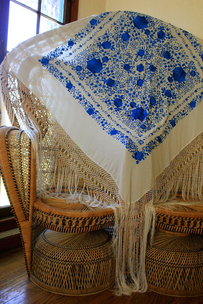 Huge 1920s Hand Embroidered Piano Shawl