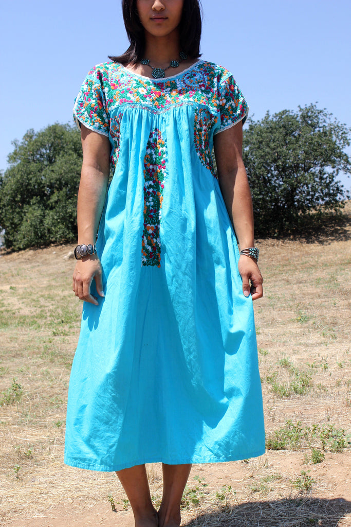 1970s Turquoise Hand Embroidered Oaxacan Dress
