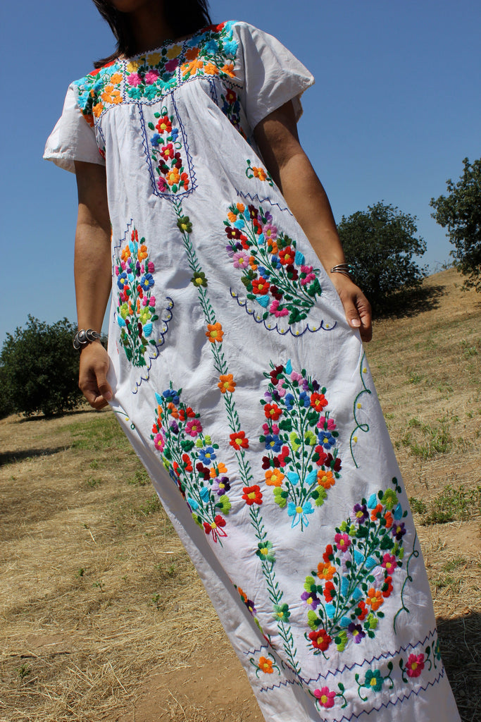 Mexican Maxi Hand Embroidered Wedding Dress