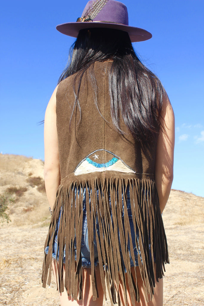 """Cosmic Eye' Hand Embroidered Vintage Vest"