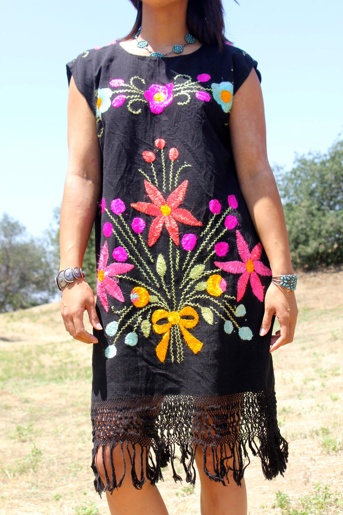 GORGEOUS Hand Embroidered Textile Dress Hand Embroidered Silk Thread