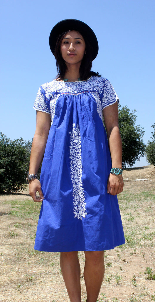 """Royal Blue' Oaxacan Beauty Hand Embroidered Vintage Dress"