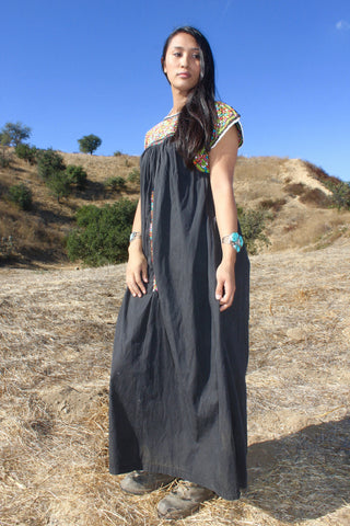 """Black Beauty"" Hand Embroidered Oaxacan Mexican Maxi Dress"