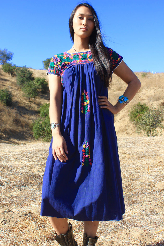 Vintage Royal Blue Hand Embroidered Oaxacan Dress