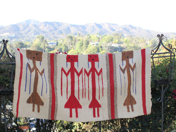 1970s Yei Native American Hand Woven Textile Wall Hanging