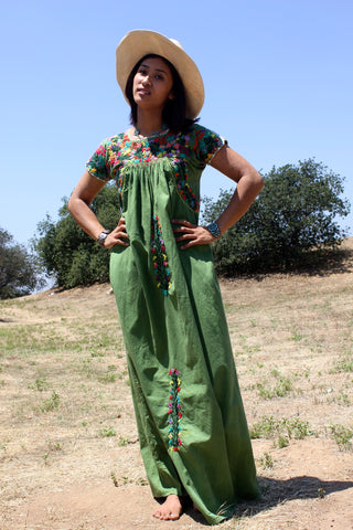 """Fern Green"" Vintage Oaxacan Maxi Dress"