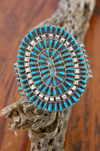 Reserved Signed Vintage Navajo Turquoise Needlepoint Sterling Cuff