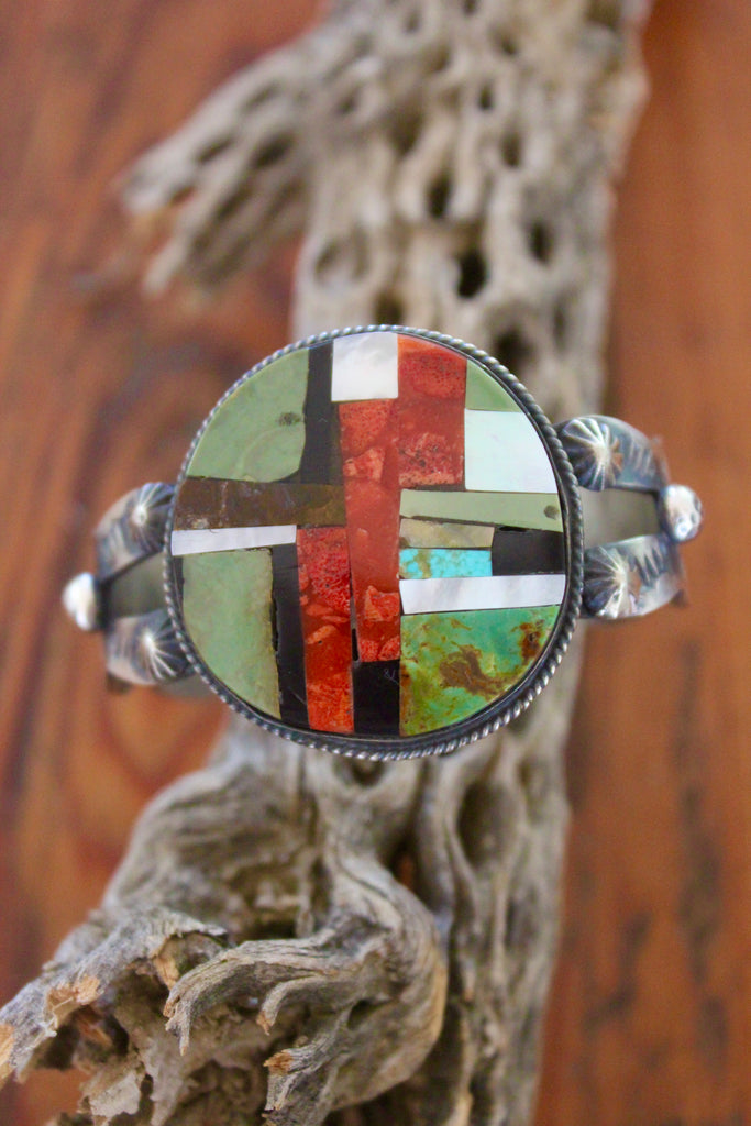 """Chimney Butte"" Sterling Navajo Inlay Cuff Turquoise Spiny Oyster etc"