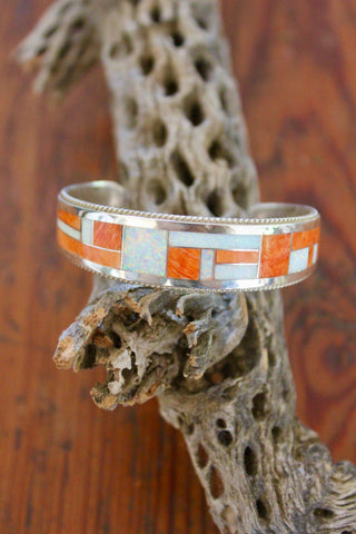 Zuni Inlay Opal and Spiny Oyster Sterling Cuff
