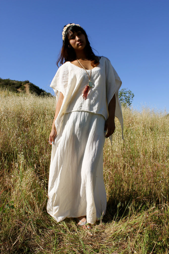 Vintage Gauzy Goddess Natural Cotton Maxi Dress