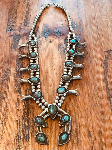 OLD and Divine Navajo Sterling and Turquoise Squash Blossom