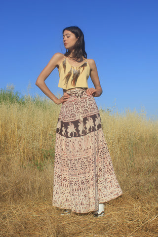 1970s Indian Block Print Cotton Wrap Skirt