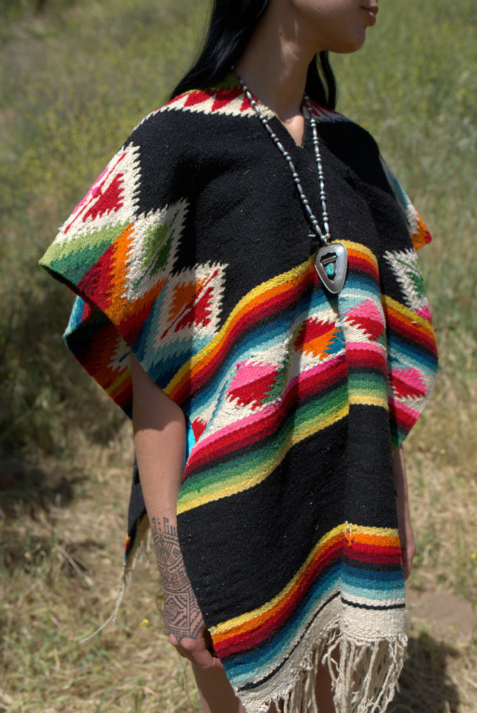 """Painted Desert"" Handwoven Vintage Mexican Poncho"