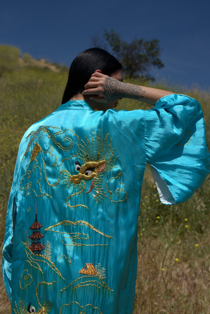 """Festival Queen"" One of a Kind hand Embroidered Kimono Duster"