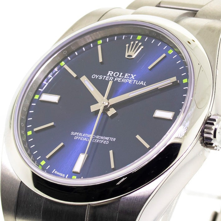 Rolex Steel Oyster Perpetual 39 mm Domed Bezel and Blue Index Dial 114300 blio-Da Vinci Fine Jewelry