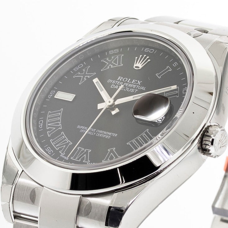 Rolex Datejust II 41mm Stainless Steel Charcoal Roman Dial & Smooth Bezel 116300-Da Vinci Fine Jewelry