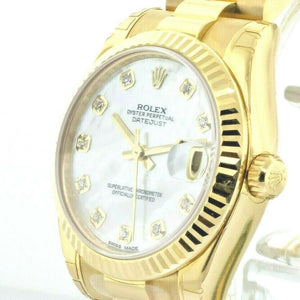 Rolex Lady-Datejust 31mm Yellow Gold Mother of Pearl Diamond Dial 178278MDP-Da Vinci Fine Jewelry